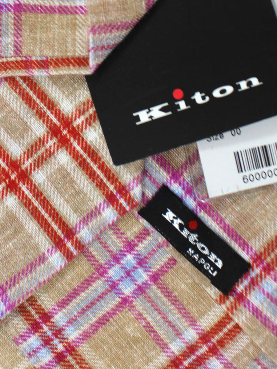 Kiton Tie Cream Red Pink Blue Plaid - Sevenfold Necktie