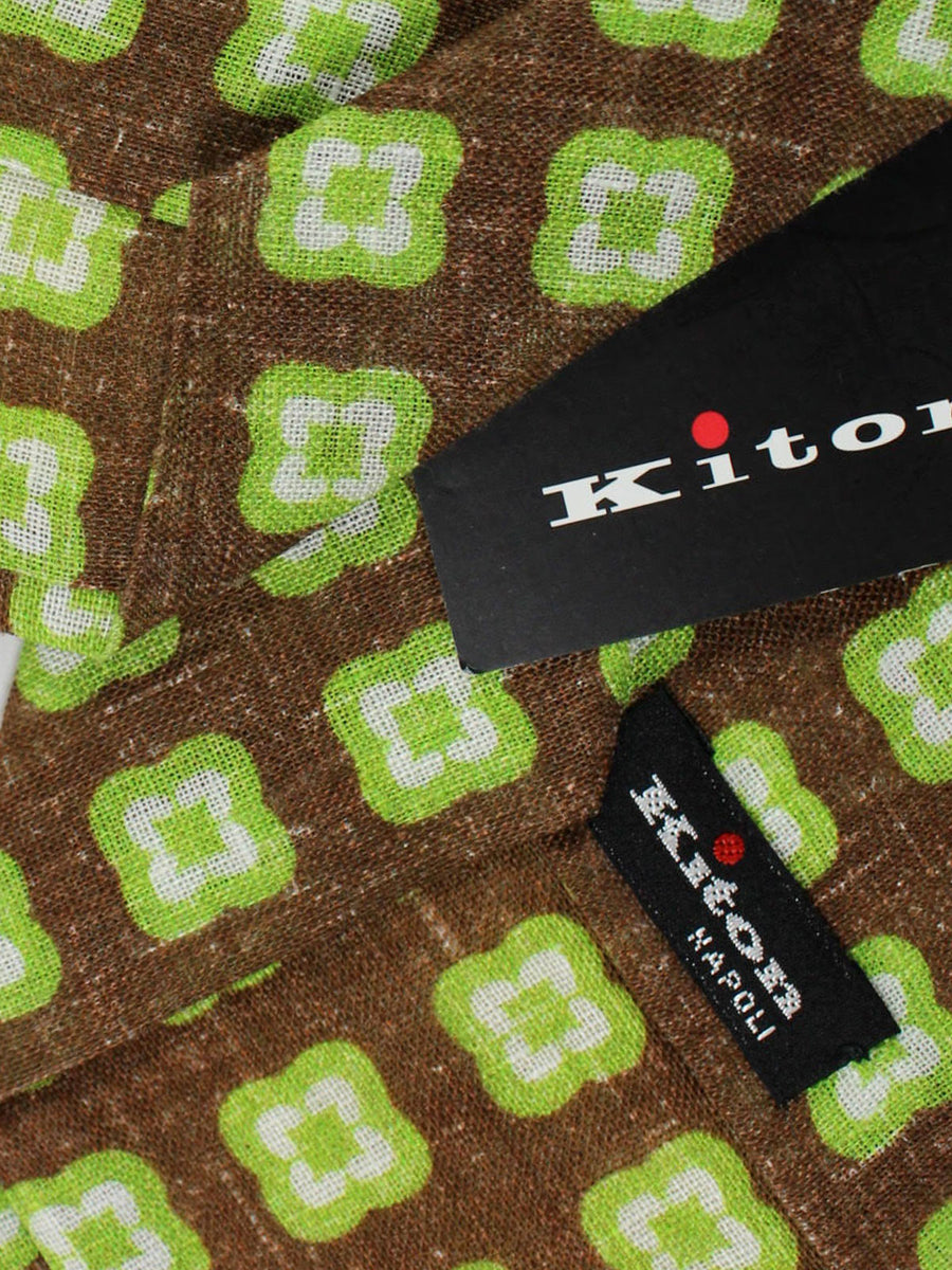 Kiton Tie Brown Green White Geometric - Sevenfold Necktie
