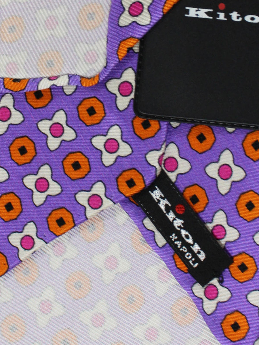 Kiton Tie Lilac Orange Geometric - Sevenfold Necktie
