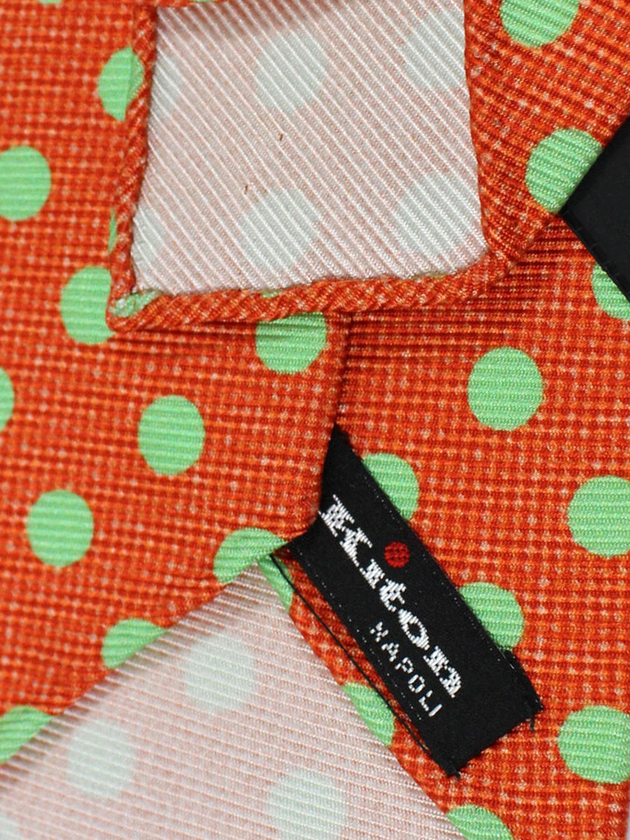 Kiton Tie Orange Lime Polka Dots - Sevenfold Necktie