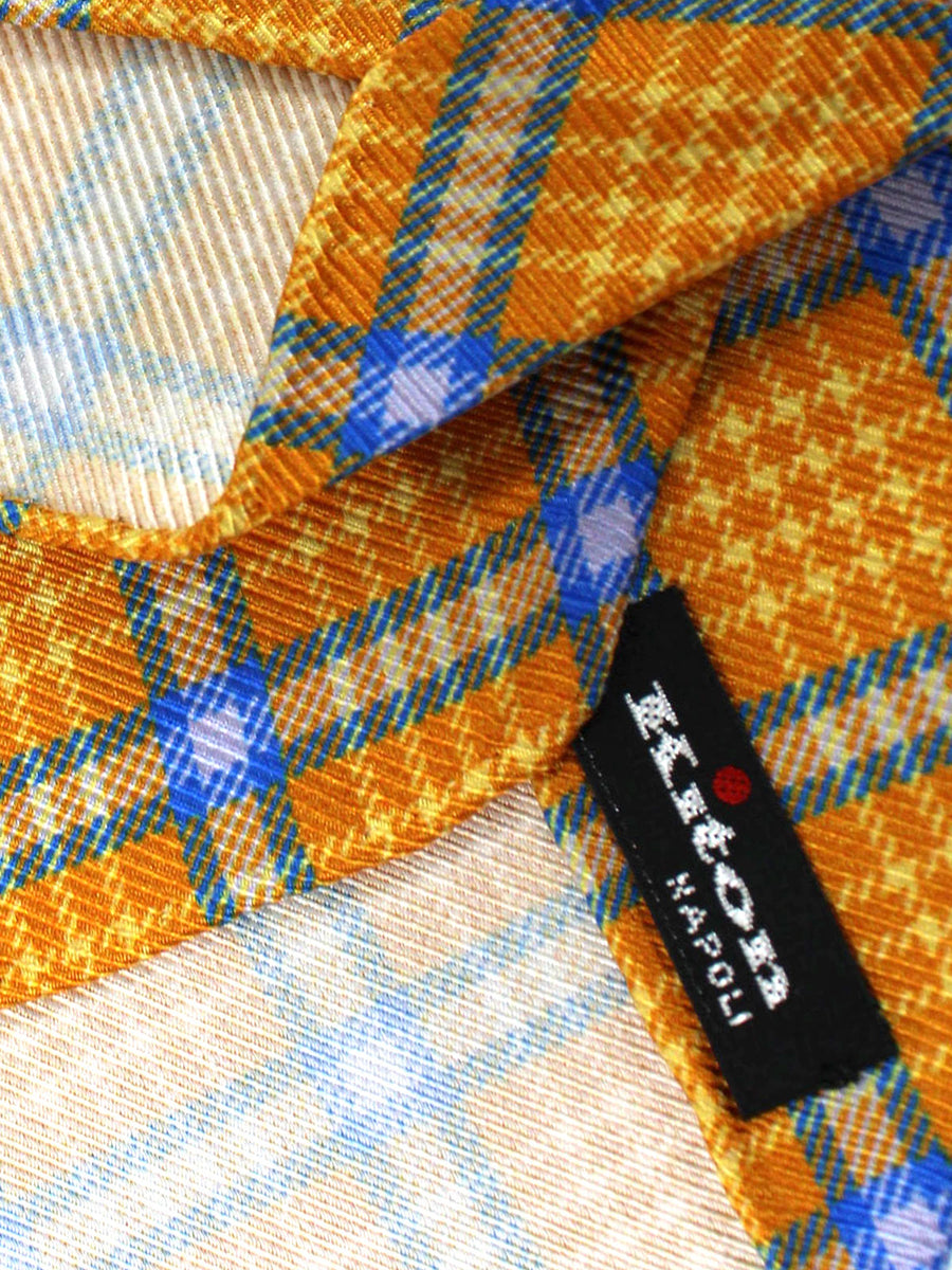 Kiton Tie Orange Royal Plaid - Sevenfold Necktie