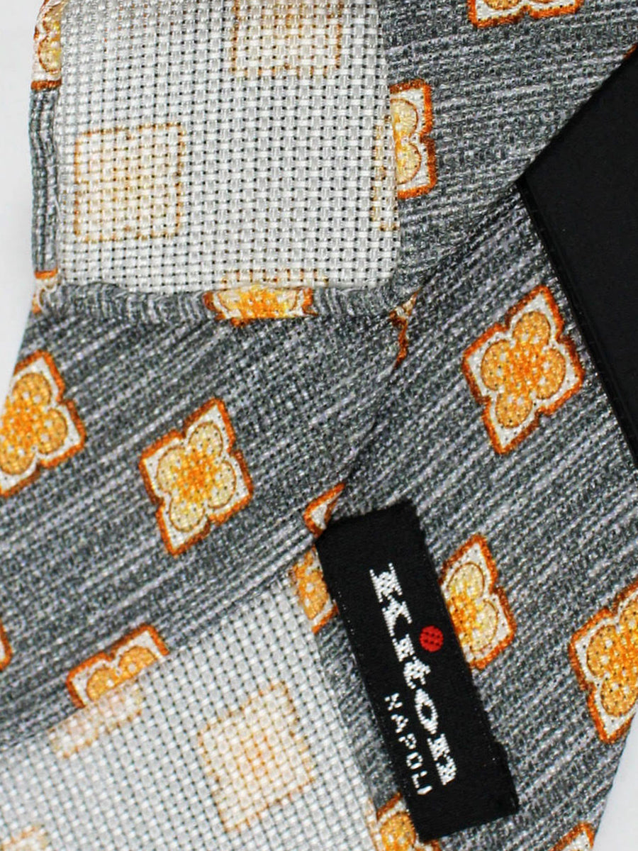 Kiton Tie Gray Orange Medallions - Unlined Sevenfold Necktie