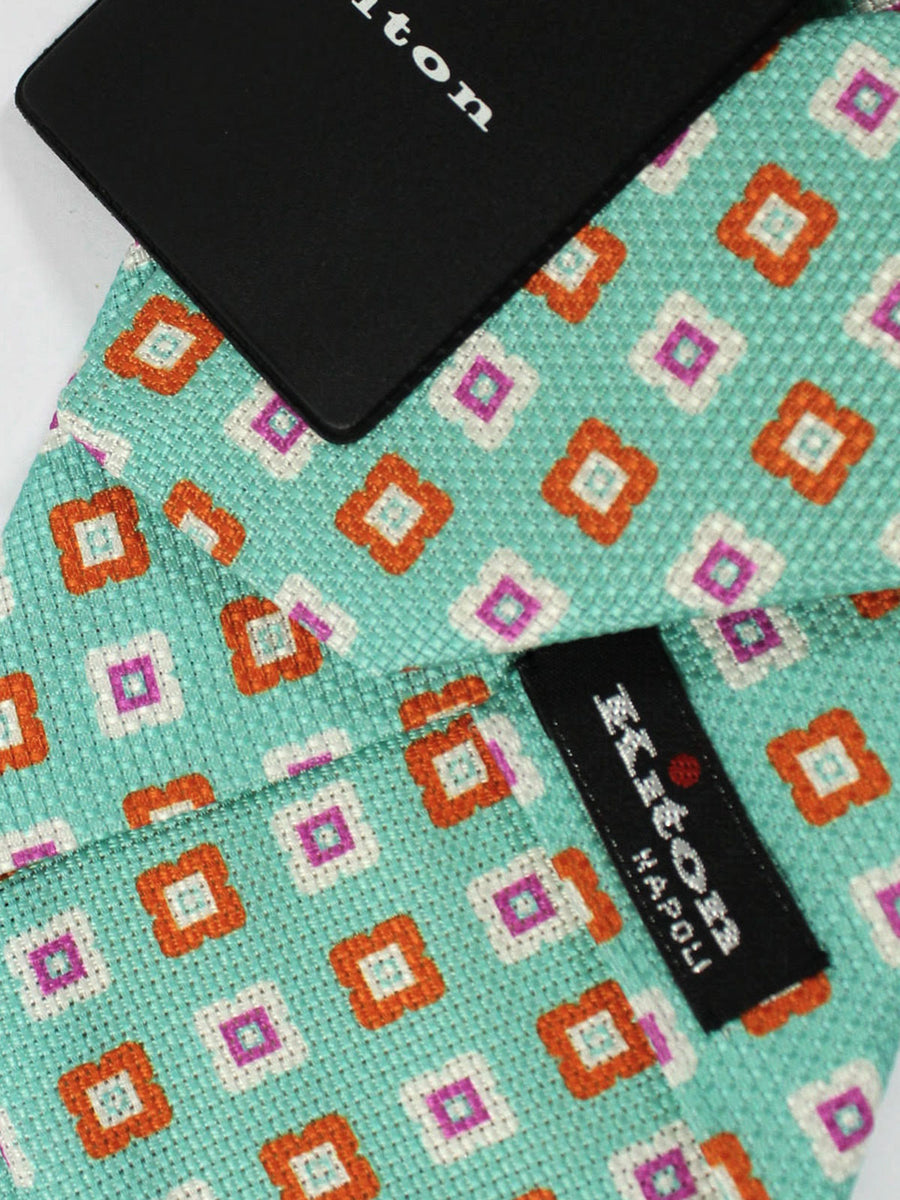 Kiton Tie Aqua Orange Purple Geometric - Sevenfold Necktie