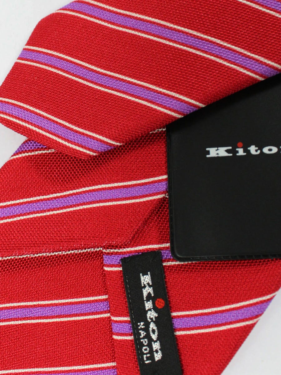 Kiton Tie Red Purple White Stripes - Sevenfold Necktie