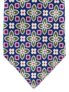 Kiton Tie Purple Pink Olive Medallions - Unlined Sevenfold Necktie