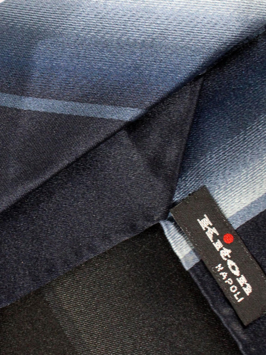 Kiton Tie Dark Blue Black Gray Stripes - Unlined Sevenfold Necktie