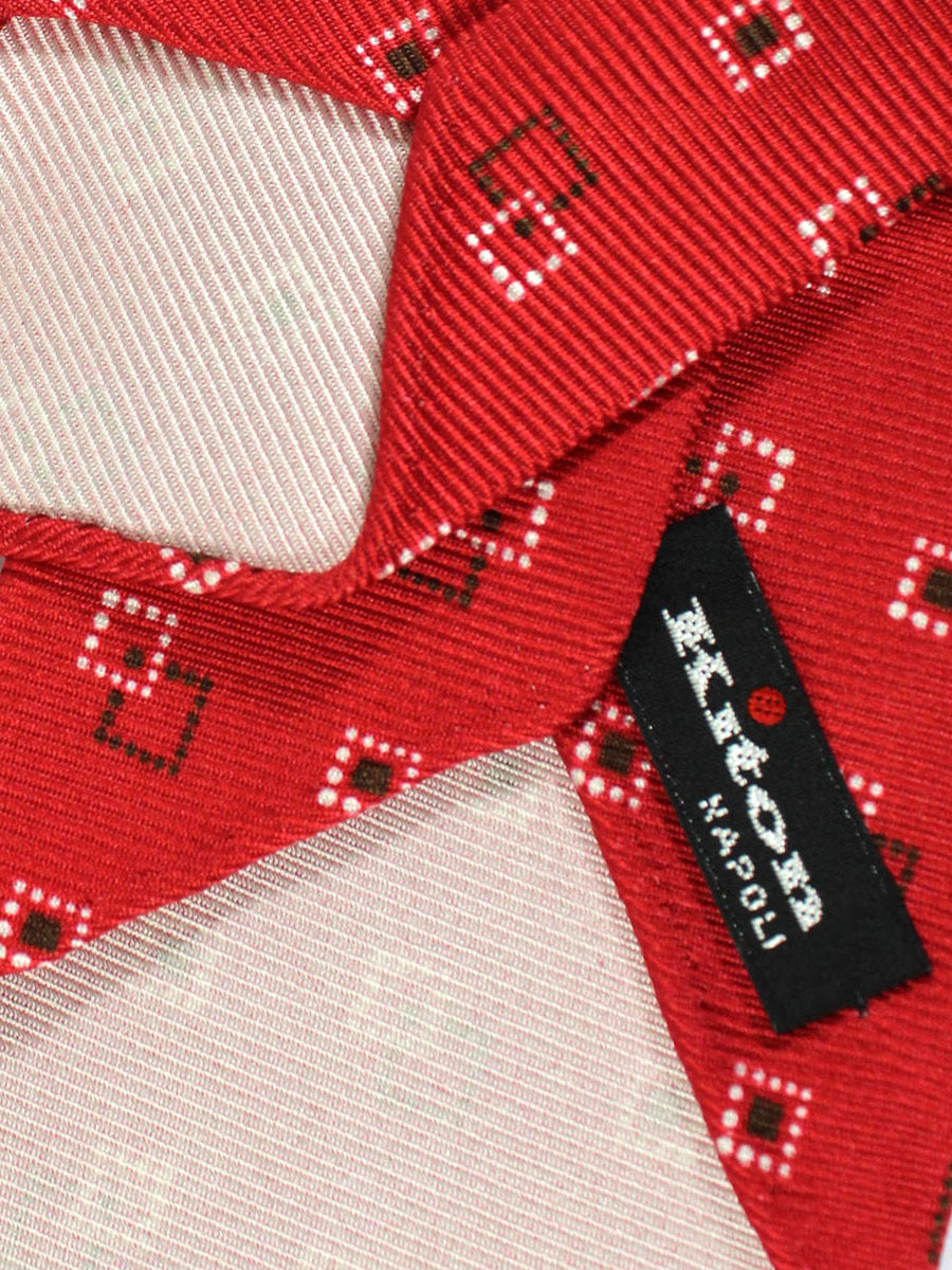 Kiton Tie Red Geometric - Unlined Sevenfold Necktie