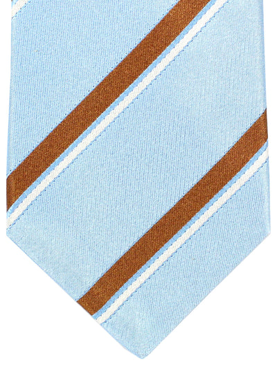 Kiton Tie Sky Blue Brown Stripes - Silk Sevenfold Necktie
