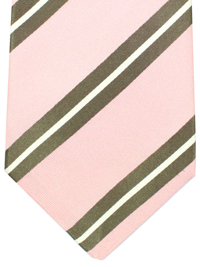 Kiton Tie Pink Brown Stripes - Silk Sevenfold Necktie