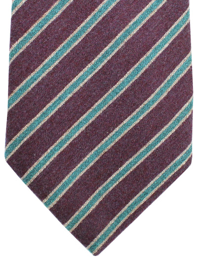 Kiton Tie Wine Purple Aqua Gray Stripes - Wool Cashmere Sevenfold Necktie