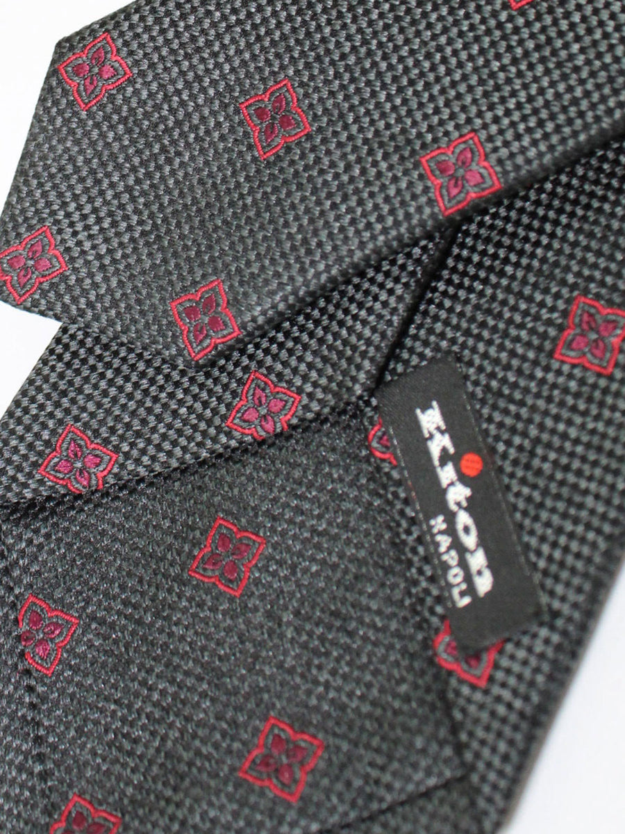 Kiton Sevenfold Tie Gray Black Red Floral - Silk