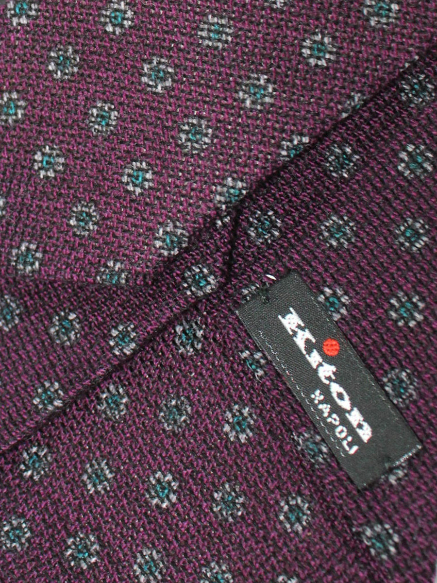 Kiton Sevenfold Tie Dark Purple Gray Floral - Wool Silk
