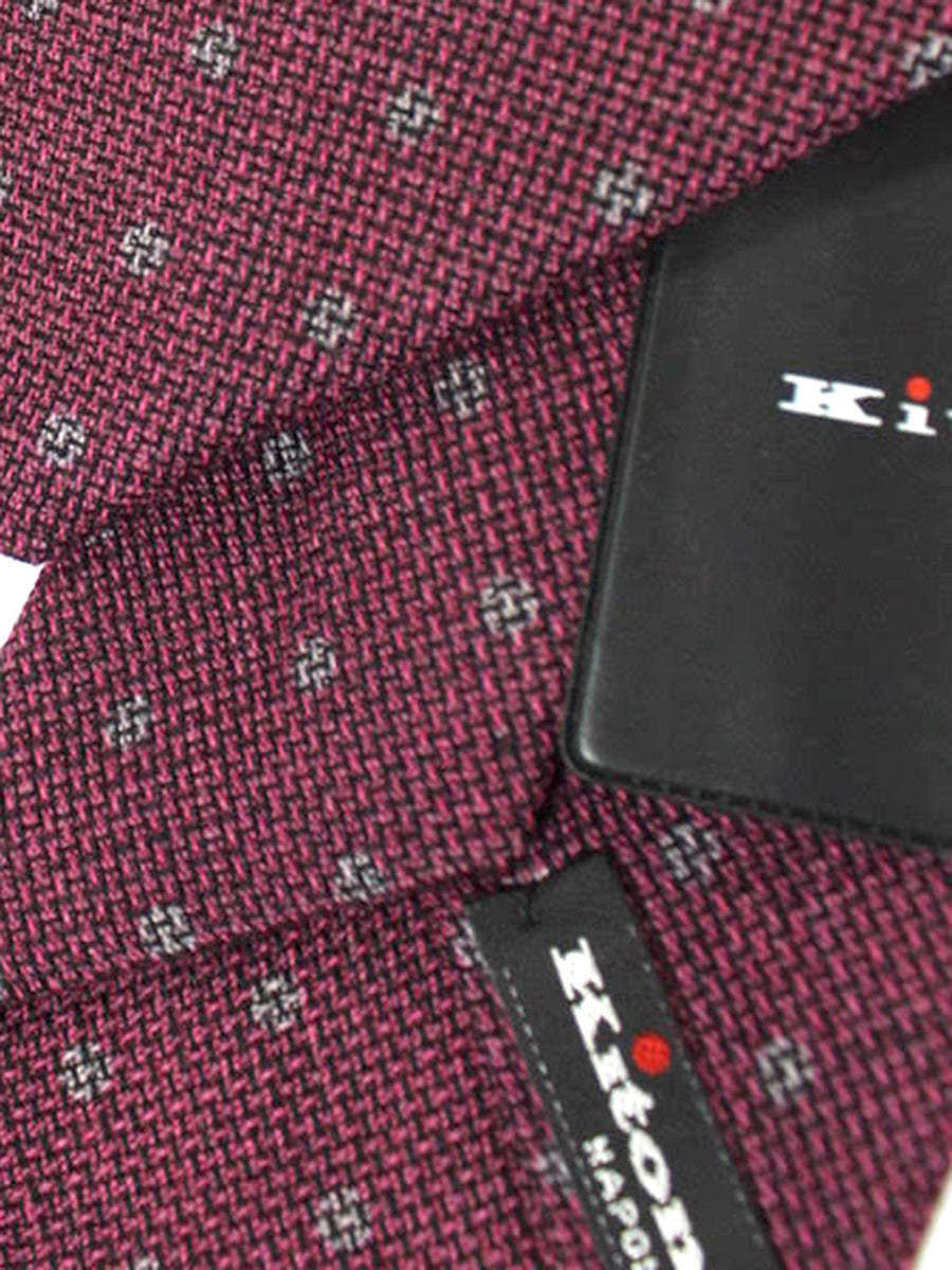 Kiton Tie Wine Purple Gray Dots - Wool Silk Sevenfold Necktie