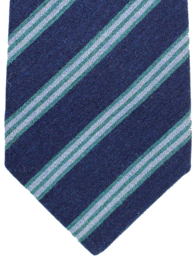Kiton Tie Navy Green Gray Stripes - Wool Silk Sevenfold Necktie