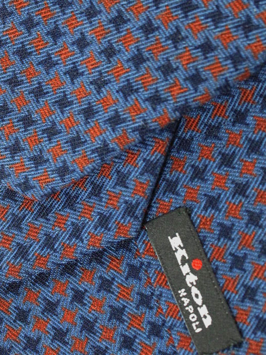 Kiton Tie Midnight Blue Rust Brown Geometric - Wool Silk Sevenfold Necktie SALE