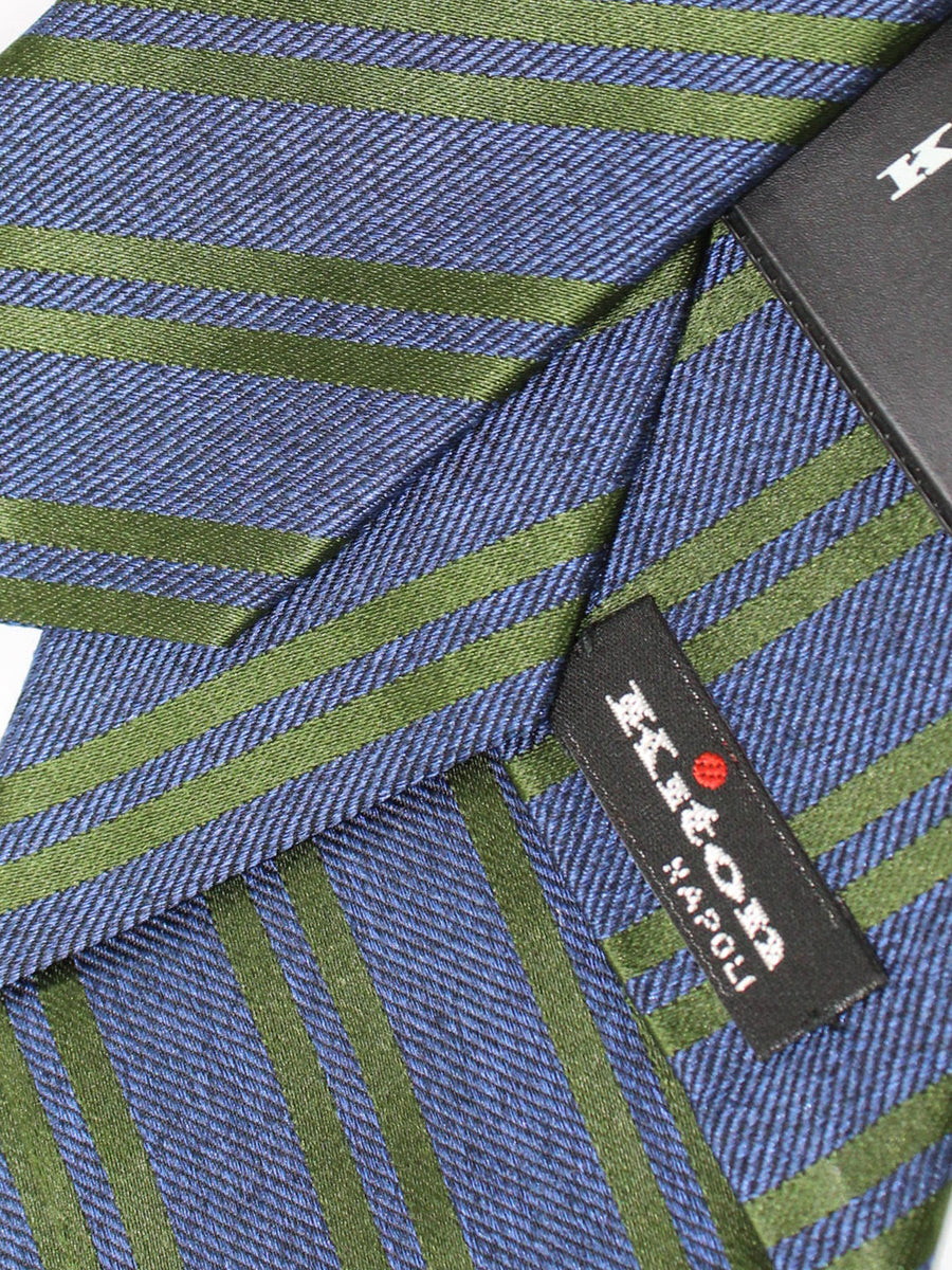 Kiton Tie Midnight Navy Green Stripes