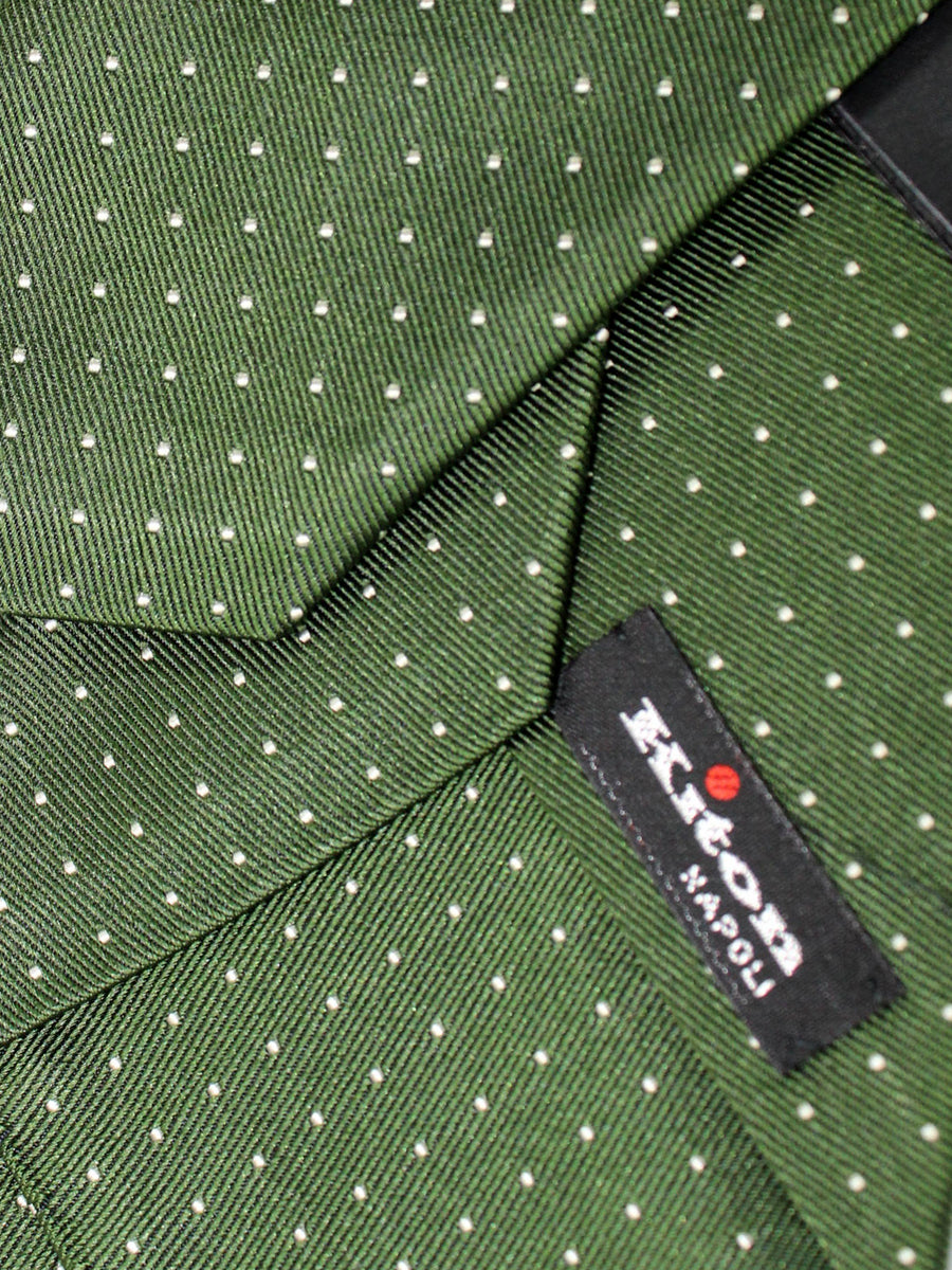 Kiton Tie Green Silver Mini Dots - Silk Sevenfold Necktie