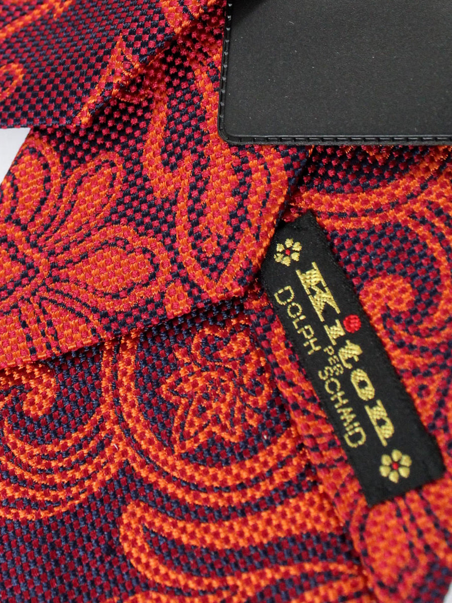 Kiton Tie Orange Fuchsia Ornamental - Silk Sevenfold Necktie