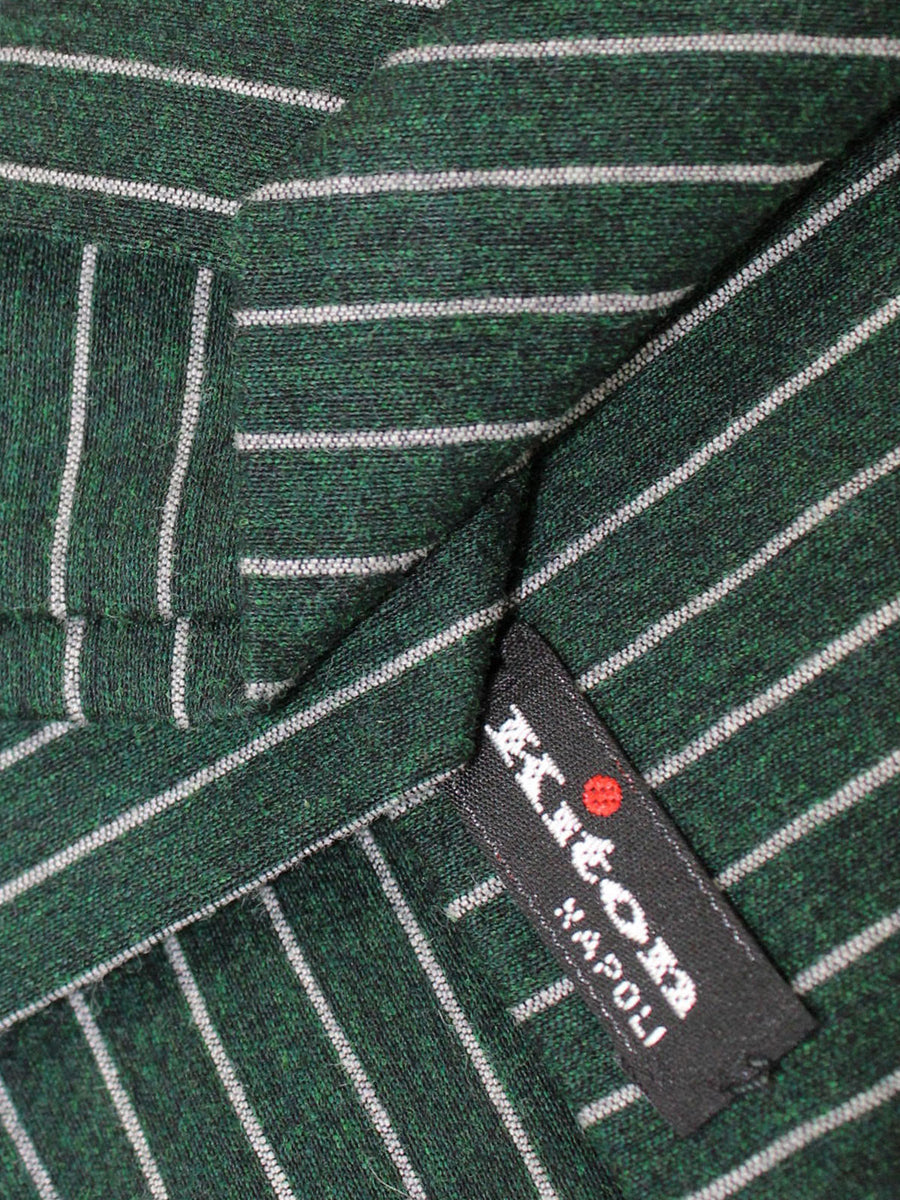 Kiton Sevenfold Tie Green Gray Stripes Design - Wool Silk Necktie