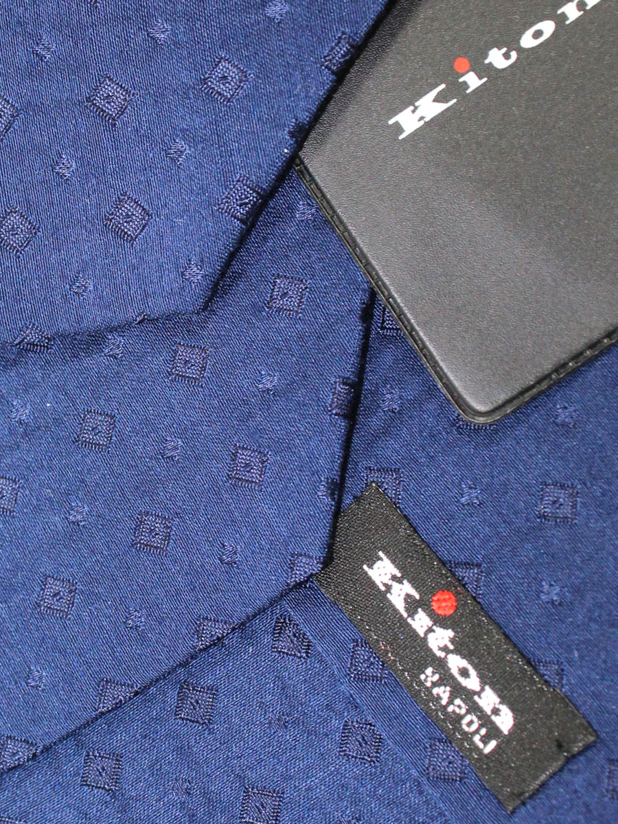 Kiton Sevenfold Tie Royal Blue Squares Design - Wool Silk Necktie
