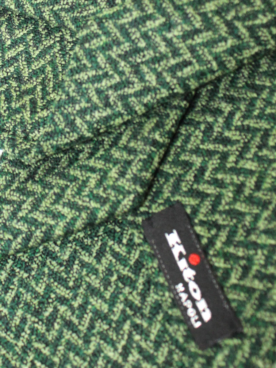 Kiton Sevenfold Tie Green Herringbone Design - Wool Silk Necktie