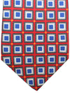 Kiton Silk Tie Red Gray Royal Geometric Sevenfold Necktie