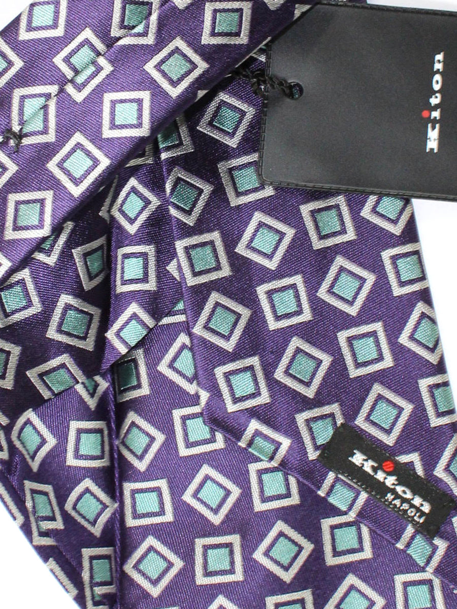 Kiton Sevenfold Tie Purple Sky Blue Silver Geometric
