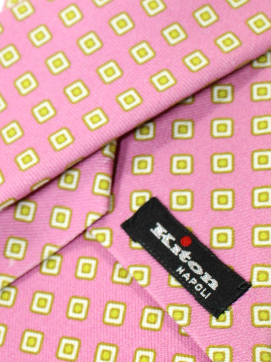 Kiton Sevenfold Tie Dust Pink Lime Geometric