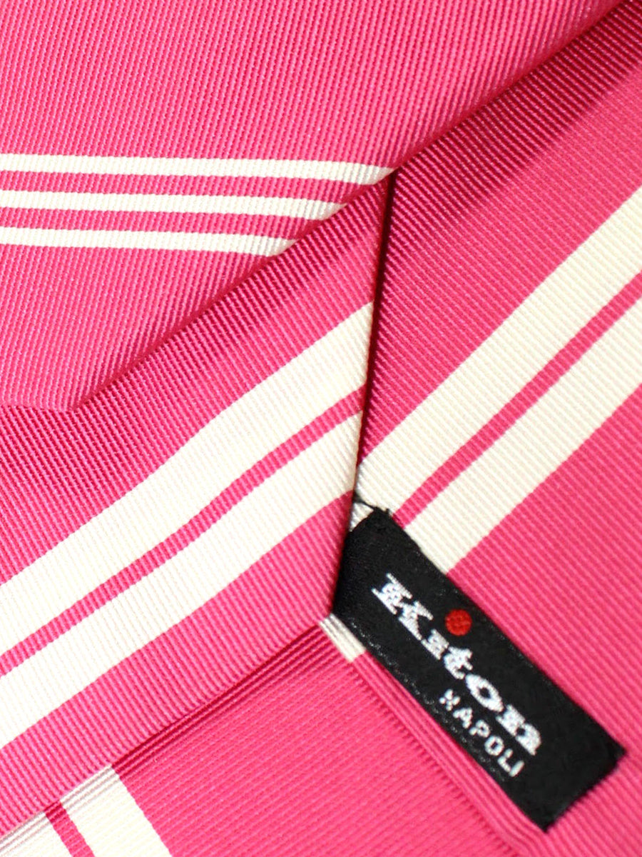 Kiton Sevenfold Tie Pink White Stripes