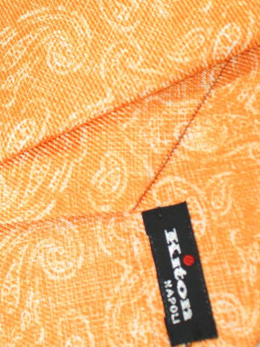 Kiton Sevenfold Tie Orange Paisley