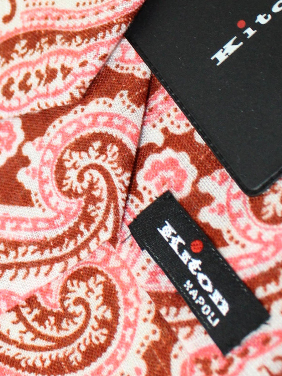 Kiton Sevenfold Tie Brown Pink White Paisley