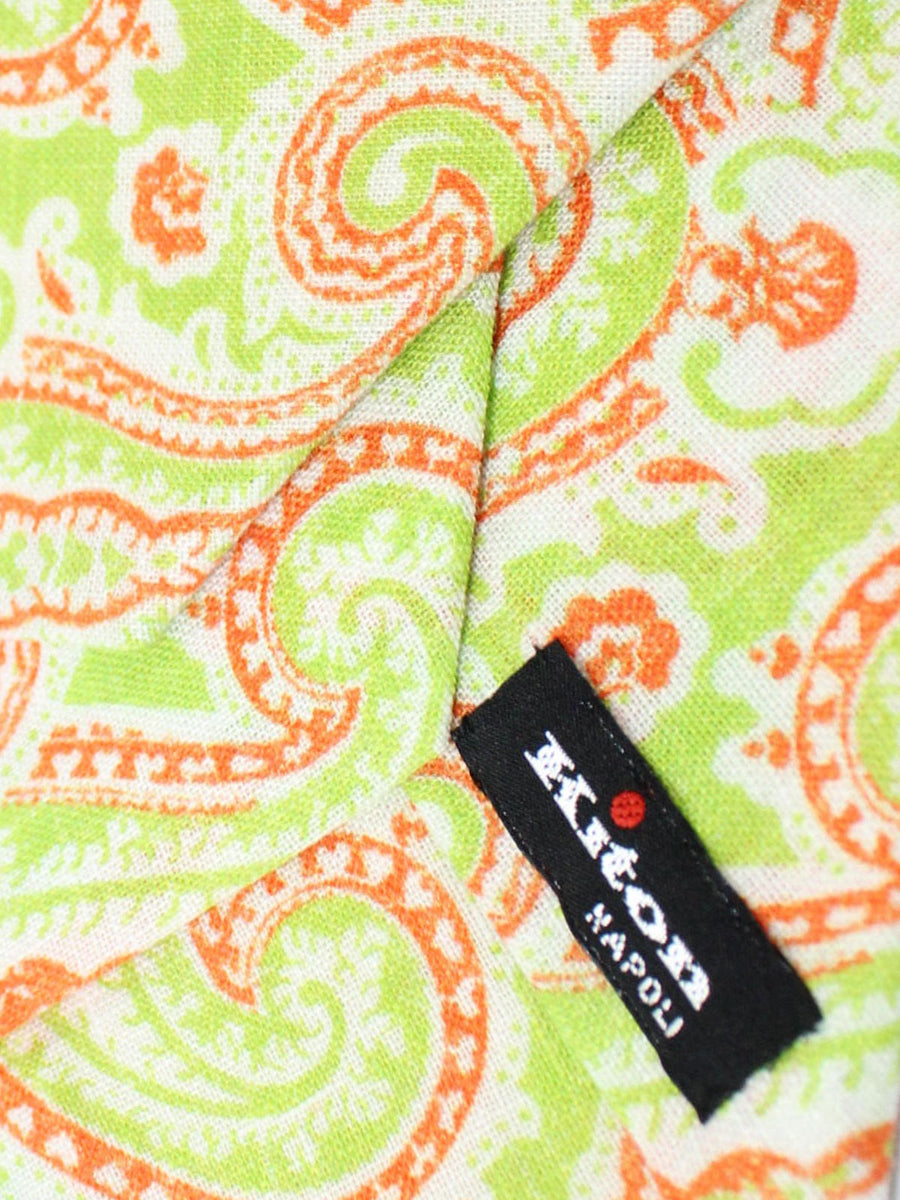 Kiton Sevenfold Tie Lime White Orange Paisley