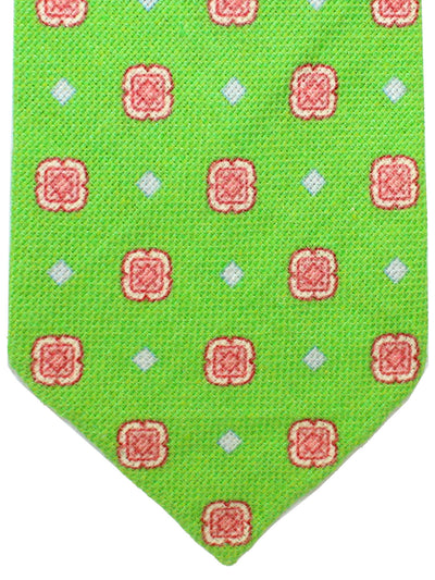 Kiton Sevenfold Tie Lime Red Medallions