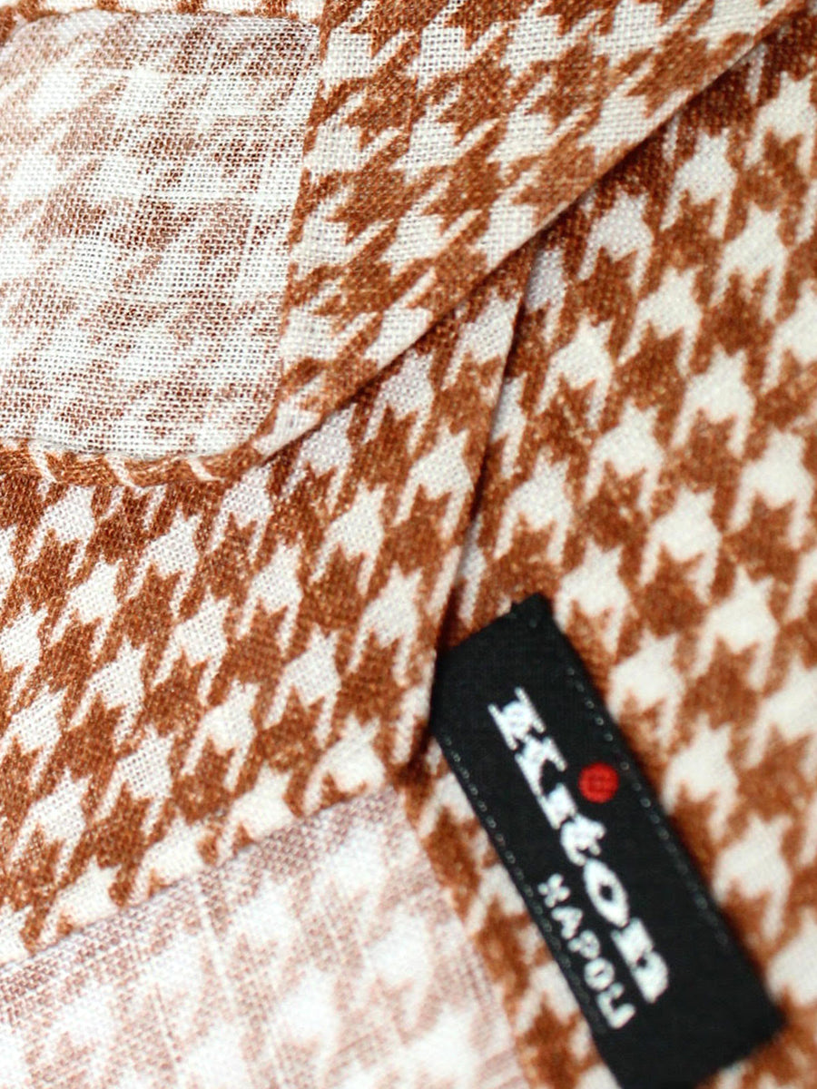 Kiton Sevenfold Tie Brown White Houndstooth