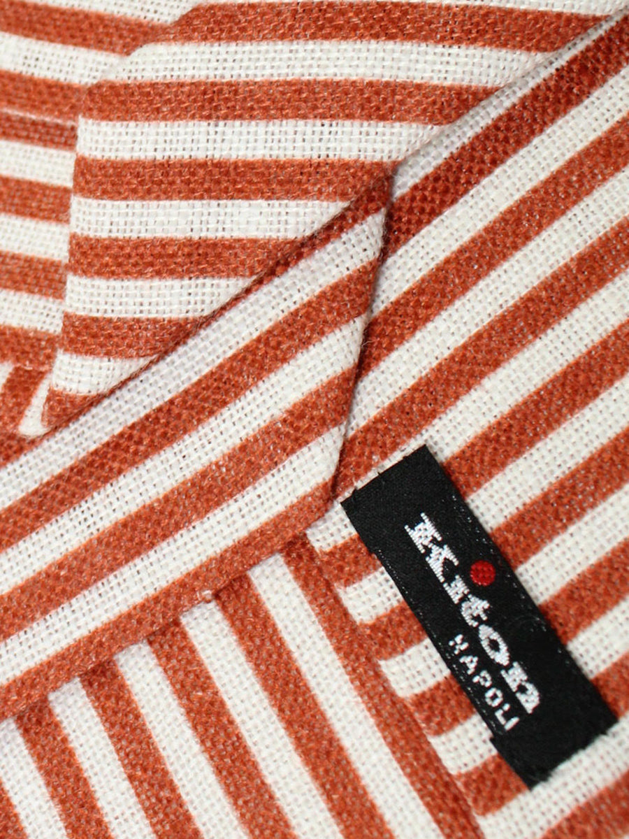 Kiton Sevenfold Tie Brown White Stripes