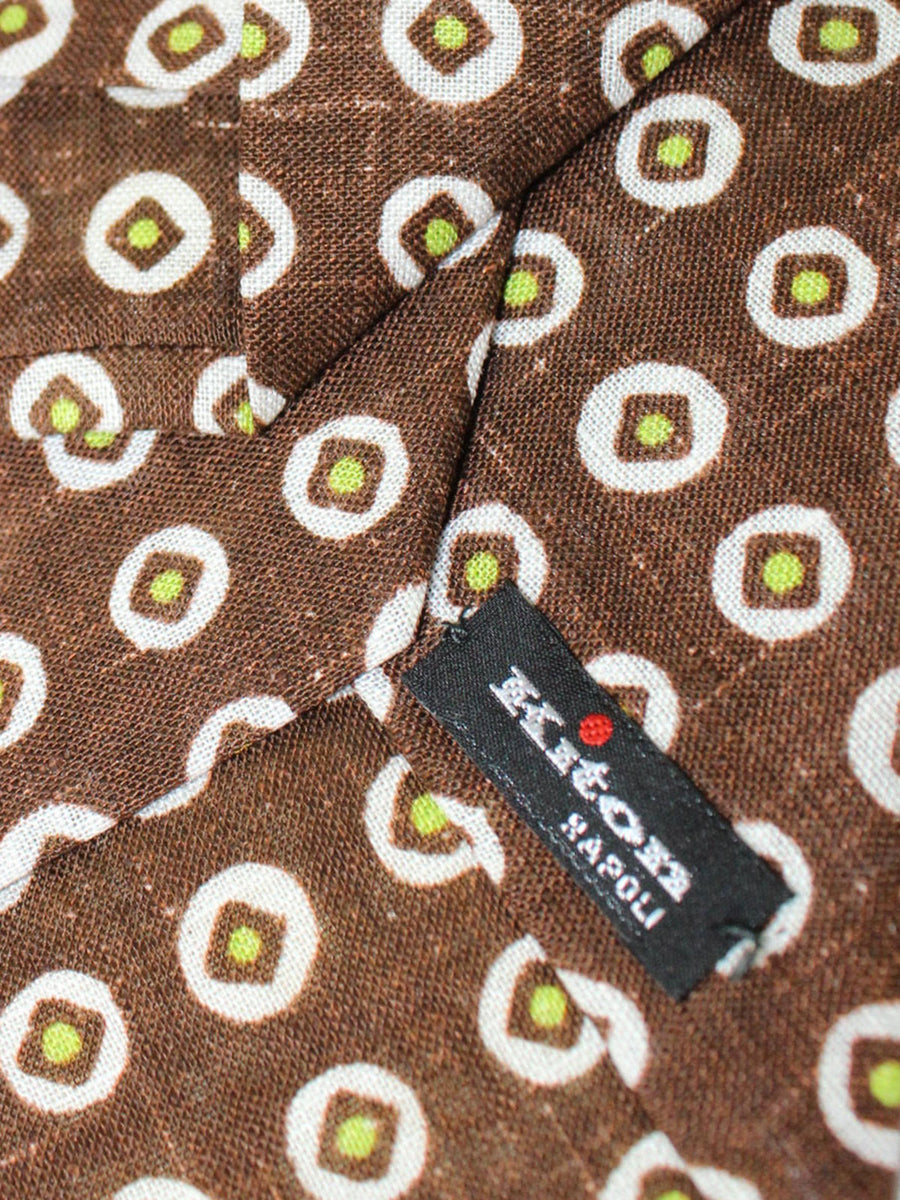 Kiton Sevenfold Tie Brown White Lime Geometric