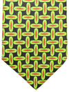 Kiton Sevenfold Tie Lime Black Brown Geometric - Summer Collection