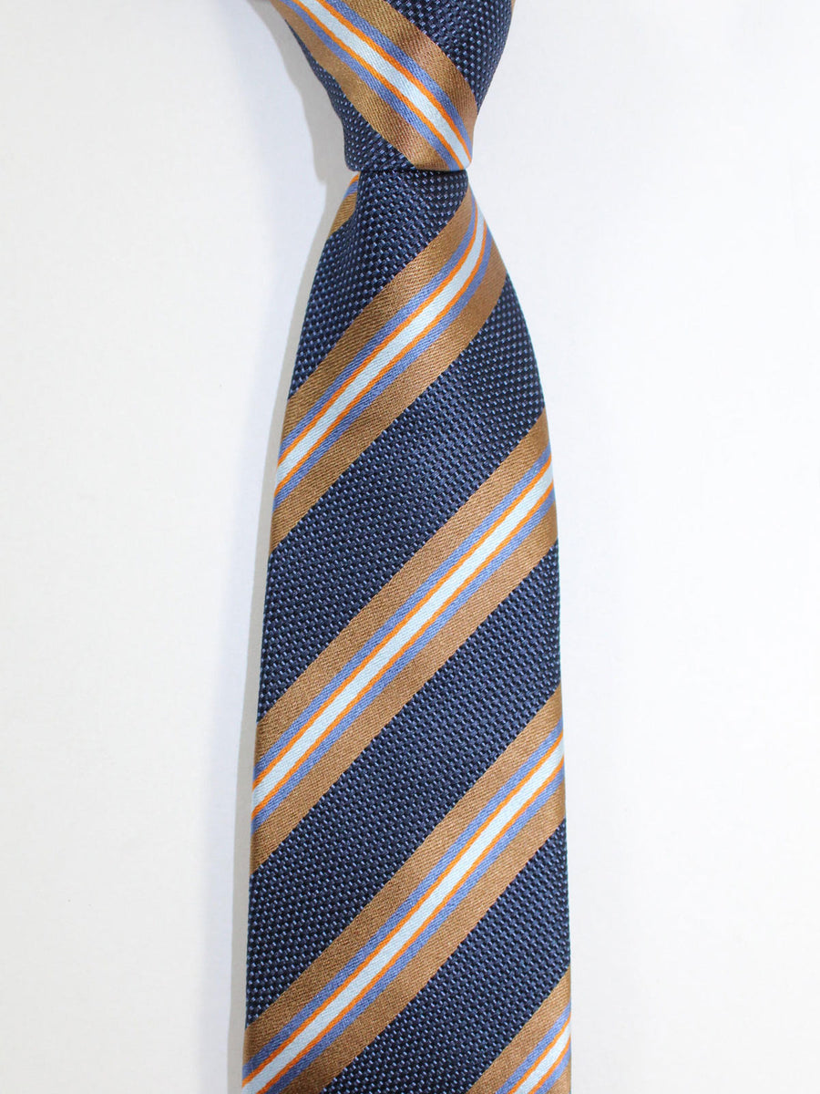 Kiton Sevenfold Tie Navy Brown Orange Stripes