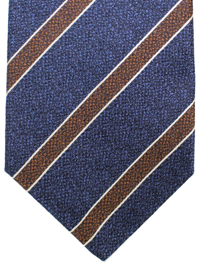 Kiton Sevenfold Tie Navy Brown Stripes - Summer Collection
