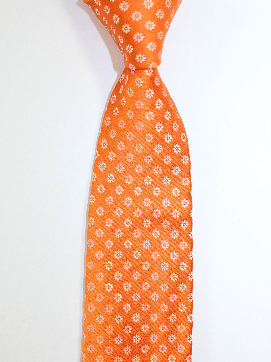 Kiton Sevenfold Tie Orange Floral - Summer Collection