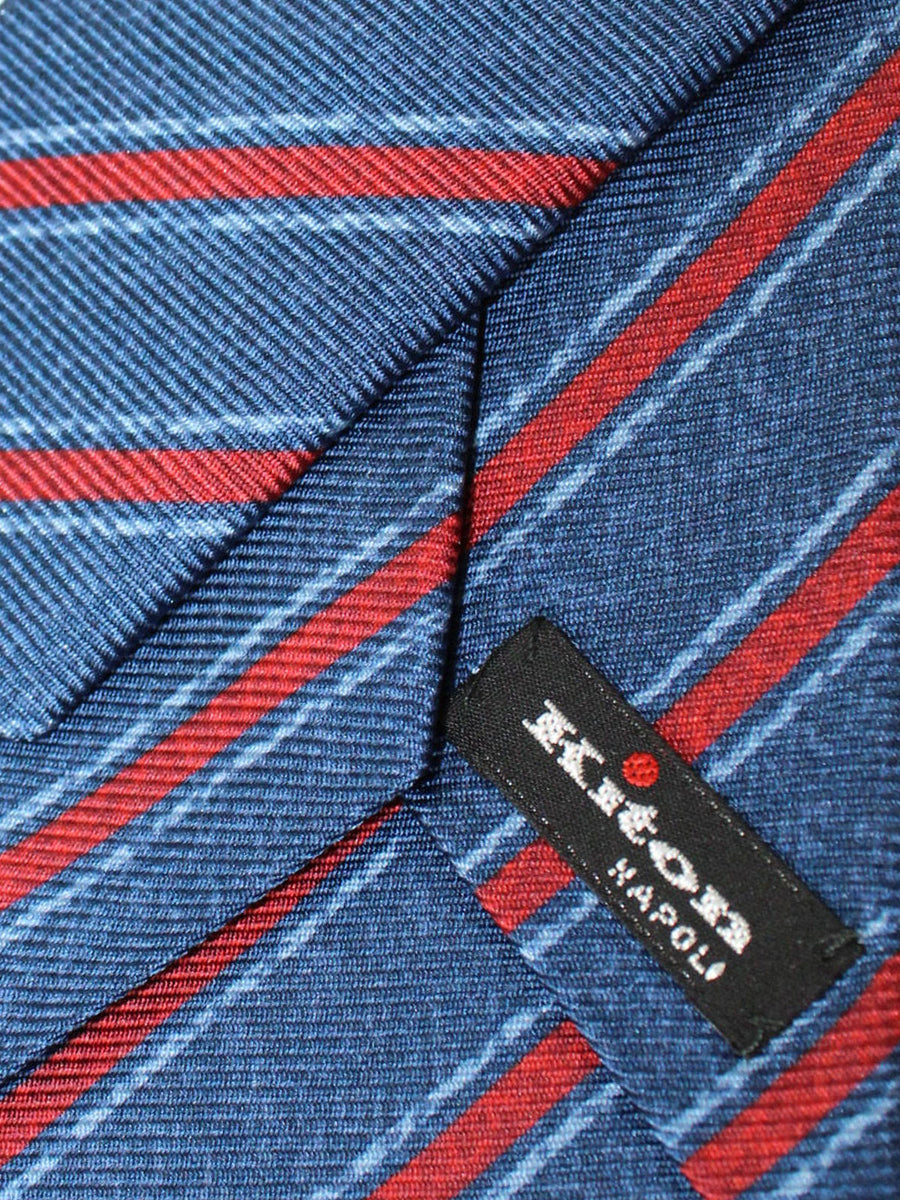 Kiton Sevenfold Tie Dark Blue Red Stripes - Summer Collection