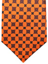 Kiton Sevenfold Tie Orange Black Brown Geometric - Summer Collection