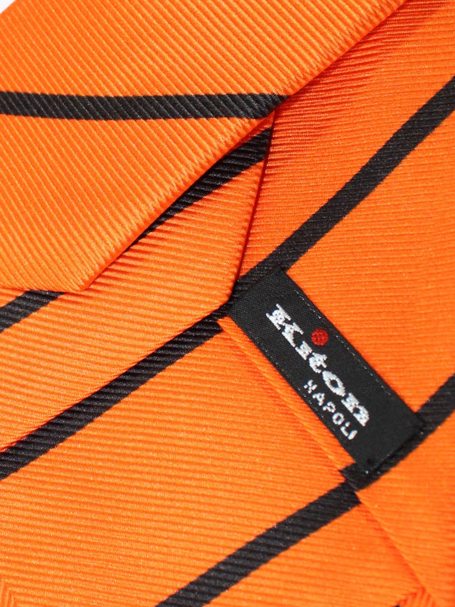 Kiton Sevenfold Tie Orange Black Stripes - Summer Collection