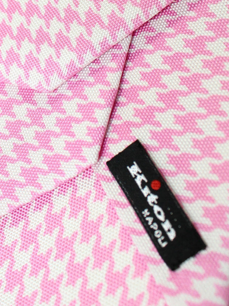 Kiton Sevenfold Tie Pink White Houndstooth - Summer Collection