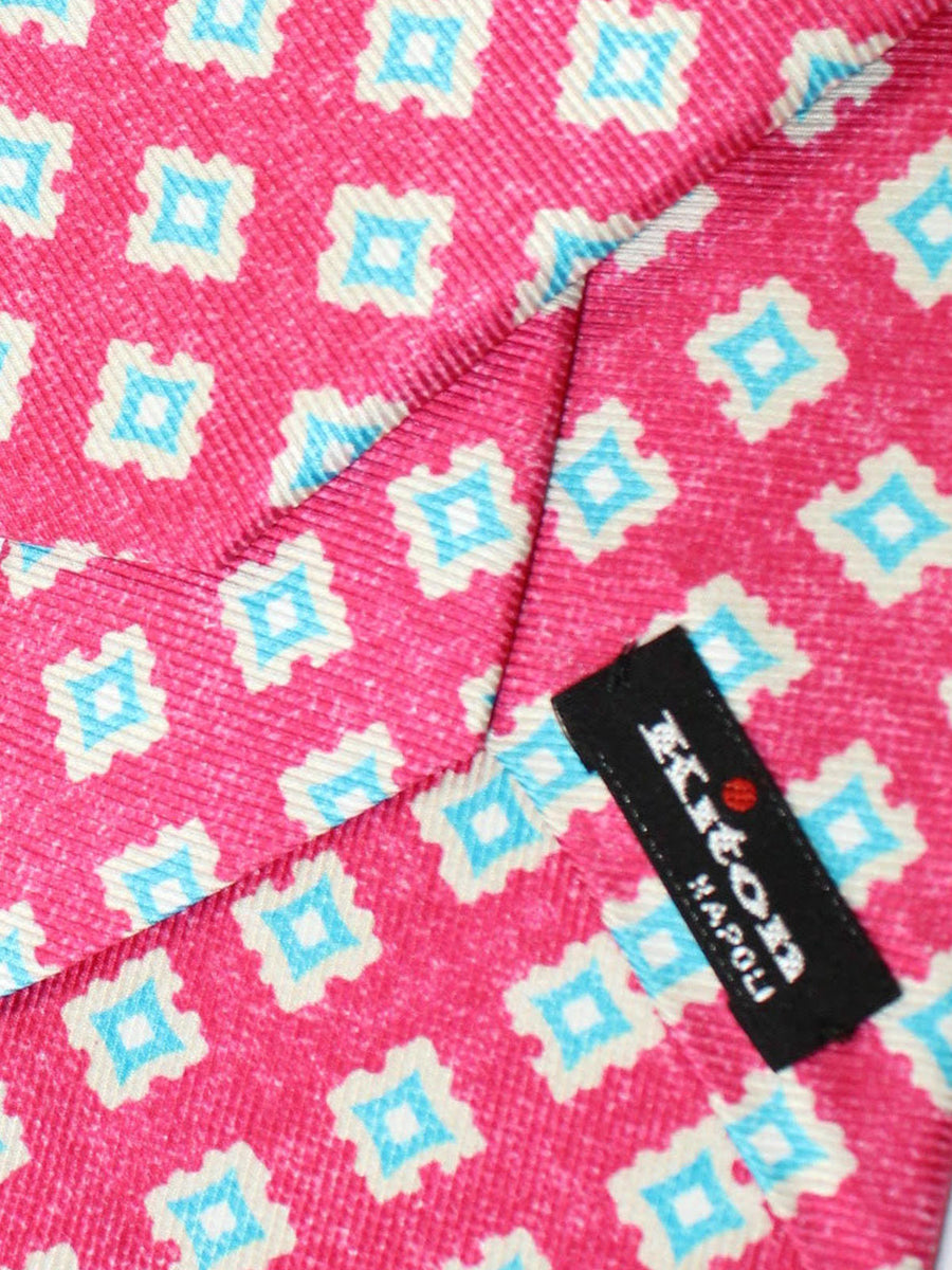 Kiton Sevenfold Tie Hot Pink Aqua Geometric - Summer Collection