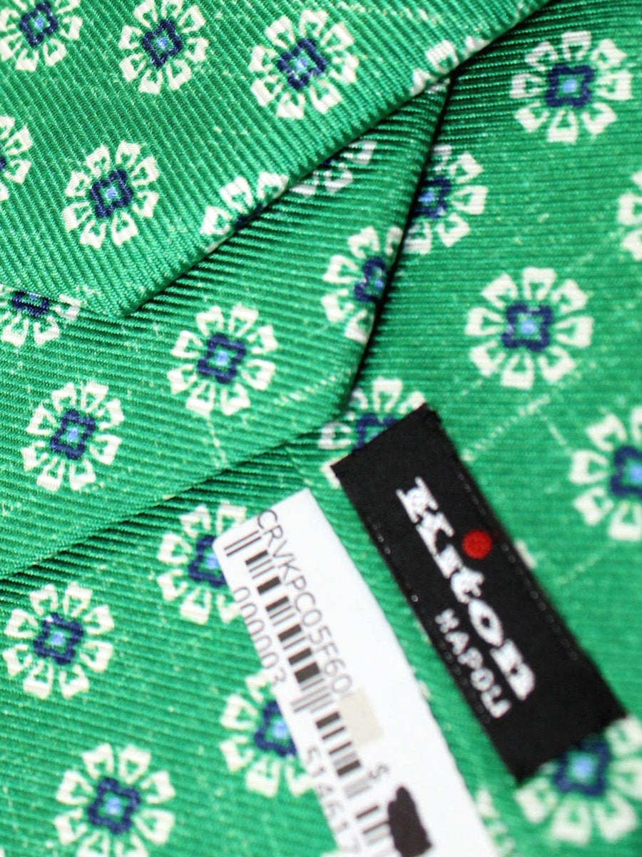 Kiton Sevenfold Tie Green Geometric - Summer Collection