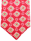 Kiton Sevenfold Tie Red Lime Green Floral - Summer Collection