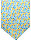 Kiton Sevenfold Tie Orange Sky Blue Floral - Summer Collection