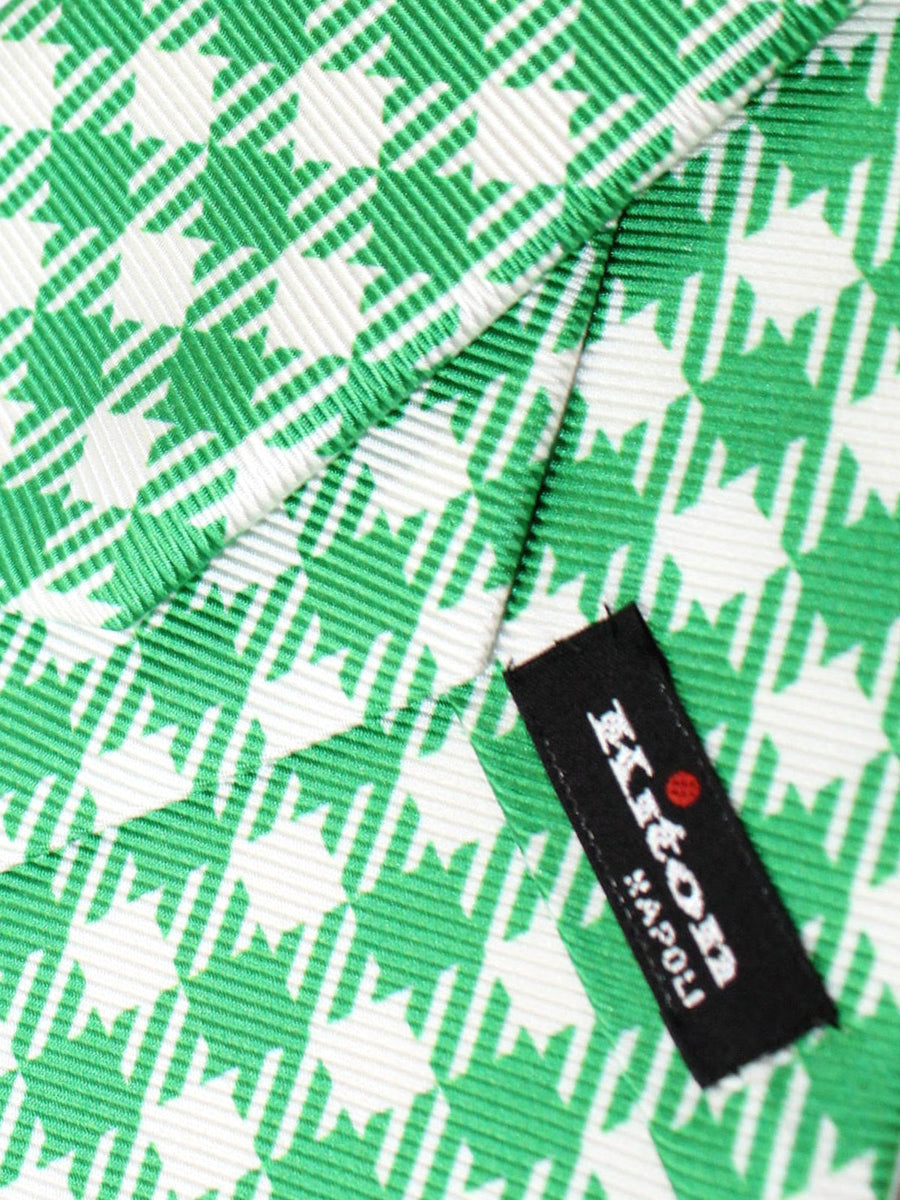Kiton Sevenfold Tie Green White Gingham - Summer Collection