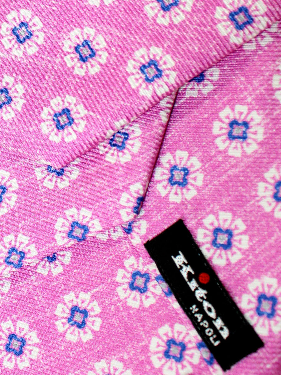 Kiton Sevenfold Tie Pink Floral - Summer Collection